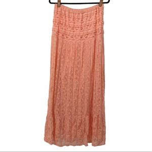 Painted Threads Peach Coral Lace Skirt